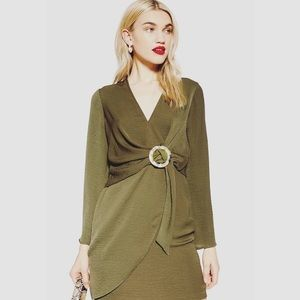 Topshop Sz 8 Olive Green Wrap Dress with Leopard